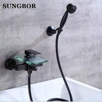 Wall Mounted Bathtub Faucet With Hand Shower Bath Shower Faucet Set Oil Rubble Bronze Finished Glass Spout Black Bath Faucet