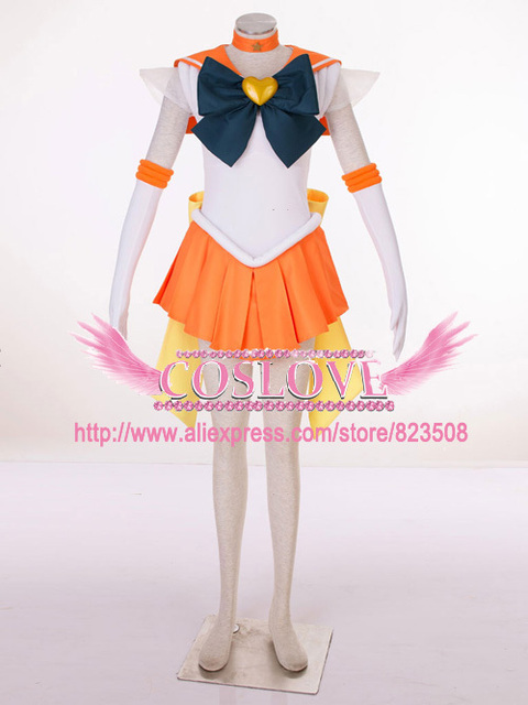 Hoge kwaliteit custom made orange sailor venus 3th cosplay kostuum van sailor moon anime voor kerst plus size (S-6XL)