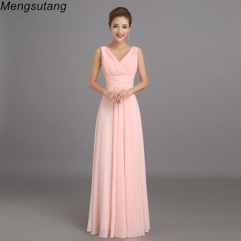 Robe de soirée 2019 Peachy rose Robe De demoiselle d'honneur longue en mousseline De soie fête robes De bal Robe de fête De Casamento Dama De Honra