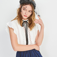 Summer Sleeveless Blouse Ladies Tops Shirt Women 2018 Fashion Hollow Bow Tiew Euro O Neck Elegant White Shirt Casual Tops Lady