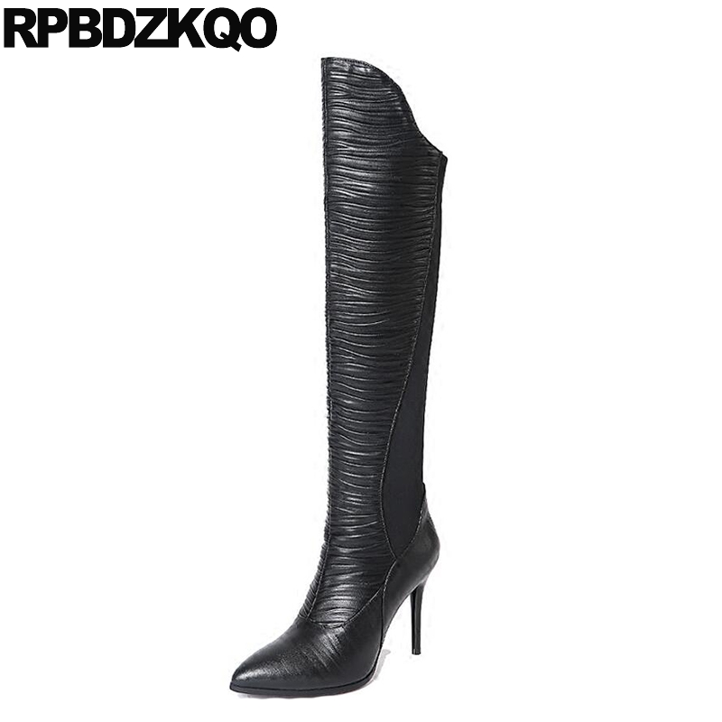 Slim Autumn Pointed Toe Stretch Casual Knee High Stiletto Luxury Brand Shoes Women Long Sexy Over The Heel 2017 Black Boots pointed toe stiletto heel ruched knee high boots