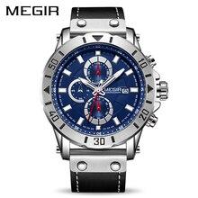 Хронограф повседневные часы для мужчин лучший бренд класса люкс MEGIR синий для мужчин спортивные наручные часы Relogio Masculino Montre Homme Hour Time