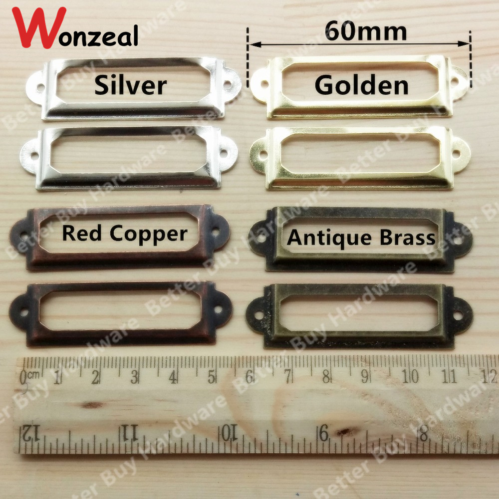 10pcs 60*17mm Vintage Metal Label Pull Frame Handle of Bronze/Red Copper/Golden for File Name Card Holder Drawer Box Case Bin allen roth brinkley handsome oil rubbed bronze metal toothbrush holder