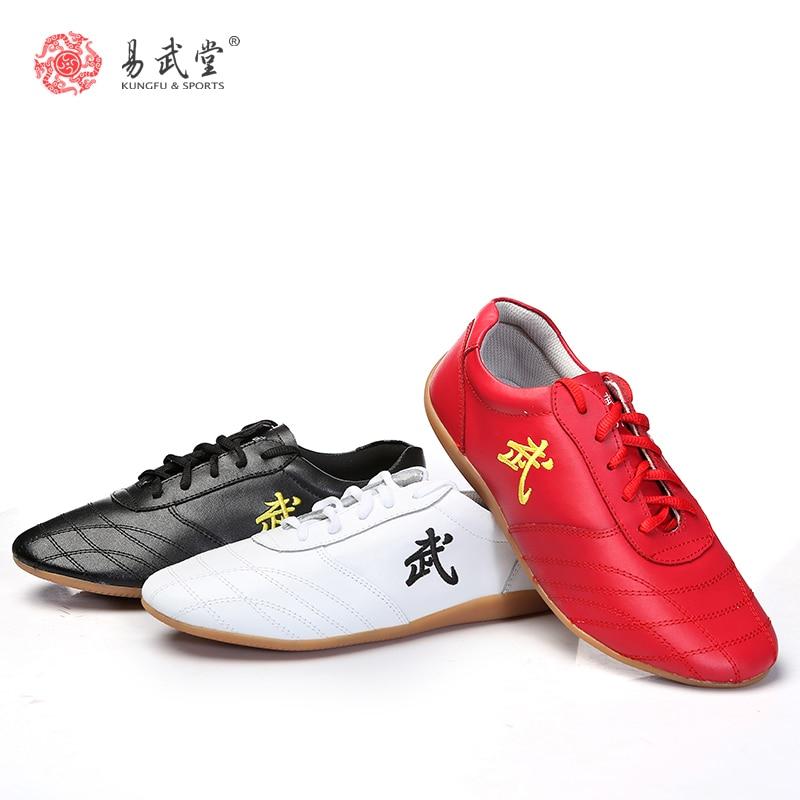 Kasut Yiwutang Tai chi untuk lelaki atau wanita Taiji dan kasut kung fu Cina Non-slip lembu Otot Cina marial ars Wu shu kanak-kanak
