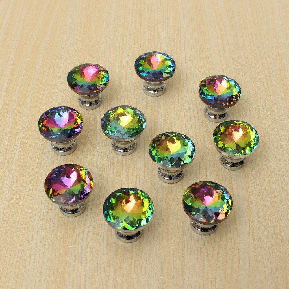 10pcs Door Knobs Crystal Shape Colorful Drawer Cupboard Wardrobe Diamond Glass Alloy Cabinet Furniture Handle Pull 30mm SJ-1007 10 pcs 30mm diamond shape crystal glass drawer cabinet knobs and pull handles kitchen door wardrobe hardware accessories