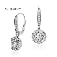 ANI 18k White Gold Women Dangle Earrings 2.22 ct Certified I/SI1 Natural Diamond Flower Shape Drop Earrings for Women Jewelry
