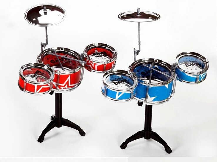 Presente de natal idéia crianças brinquedos tambor conjunto meninos meninas jogar música desenvolver inteligência azul e vermelho para escolher + frete grátis