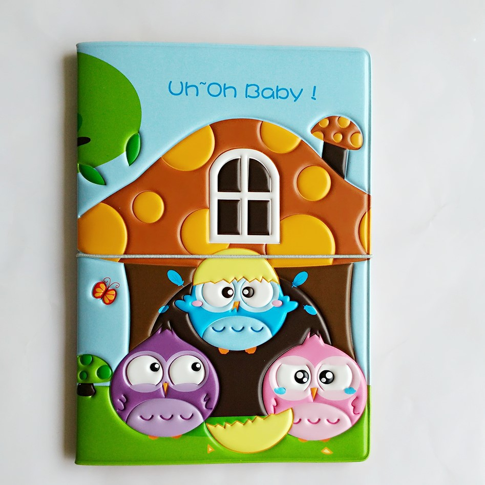 The Breath Of Spring! Owl Baby Travel Passport Covers , Pvc Leather ID Card Bag Passport Holder  Passport Wallets 14*10cm