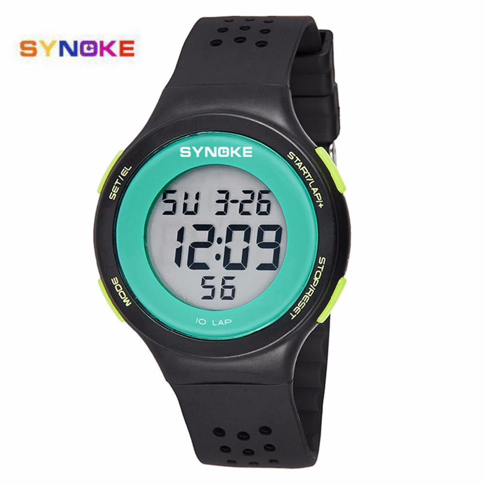 SYNOKE Fashion LED Digital Waterproof  Watch Men Women Sport Wrist Watch Top Brand Male Female Clock Electronic Digital-watch
