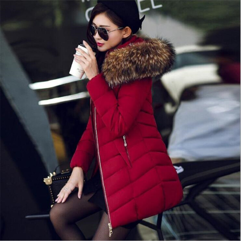 Women's Down Jacket 2018 Winter Long Warm Big Hair Collar Hooded Down Cotton Jacket Women Casual Solid Color Women's Parkas Tops