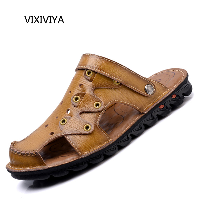 2018 New mens fashion casual shoes platform summer shoes sandals men genuine leather loafers beach slippers shoes for men youth