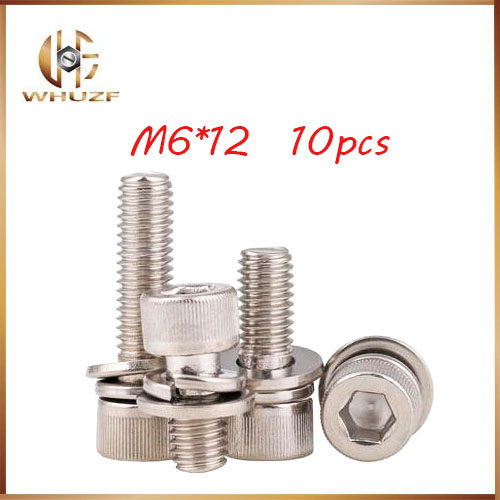 10ps M6*12mm 304 Stainless Knurled Thumb Head Inner Bolt Hexagon Socket Lock Washer Assembly Screwcombination m6 bolts,m6 nails