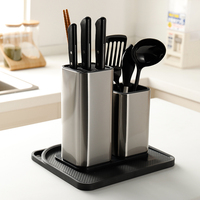 Stainless Steel Knife Holder Multi Function Household Knife Storage Rack Kitchen Storage Box Kitchen Knife Spoon Rack 38