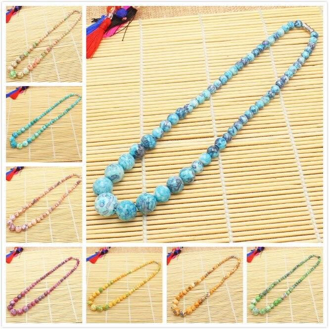Ожерелье женское постепенно круглое, 6-14 мм, 13 цветов, 17,5 дюйма