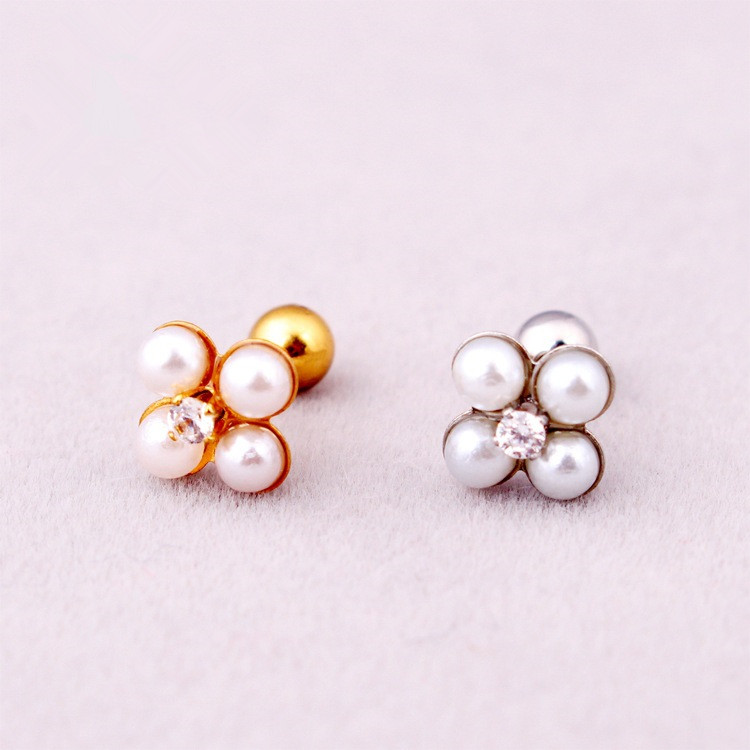 Fashion Women White Pearl Earrings Stainless Steel Small Crystal Four Ball Stud Brincos Ear Piercing Jewelry In From