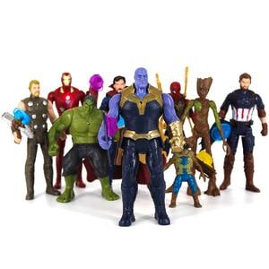 Image 1 - Avengers Endgame Infinity 4 figurines daction jouets Iron Man Thor Hulk Thanos capitaine docteur étrange poupée de collection pour les enfants