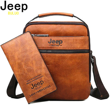 JEEP BULUO High Quality Man Bag Simple Style New Men Messenger Shoulder Bags Split Leather Handbags For Fashion Business