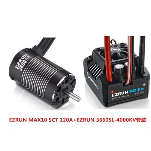 Hobbywing EZRUN MAX10 SCT 120A Brushless ESC + 3660 G2 3200KV/4000KV/4600KV Sensorless Moteur Kit pour 1/10 RC Voiture Camion F19286/8