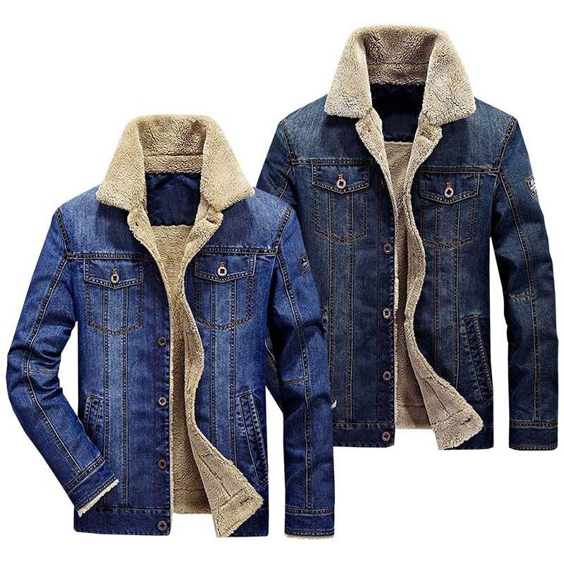 0b0d1eb50be Compre Chaqueta Jeans Hombre Invierno Espesar Cálido Cordero Lana ...