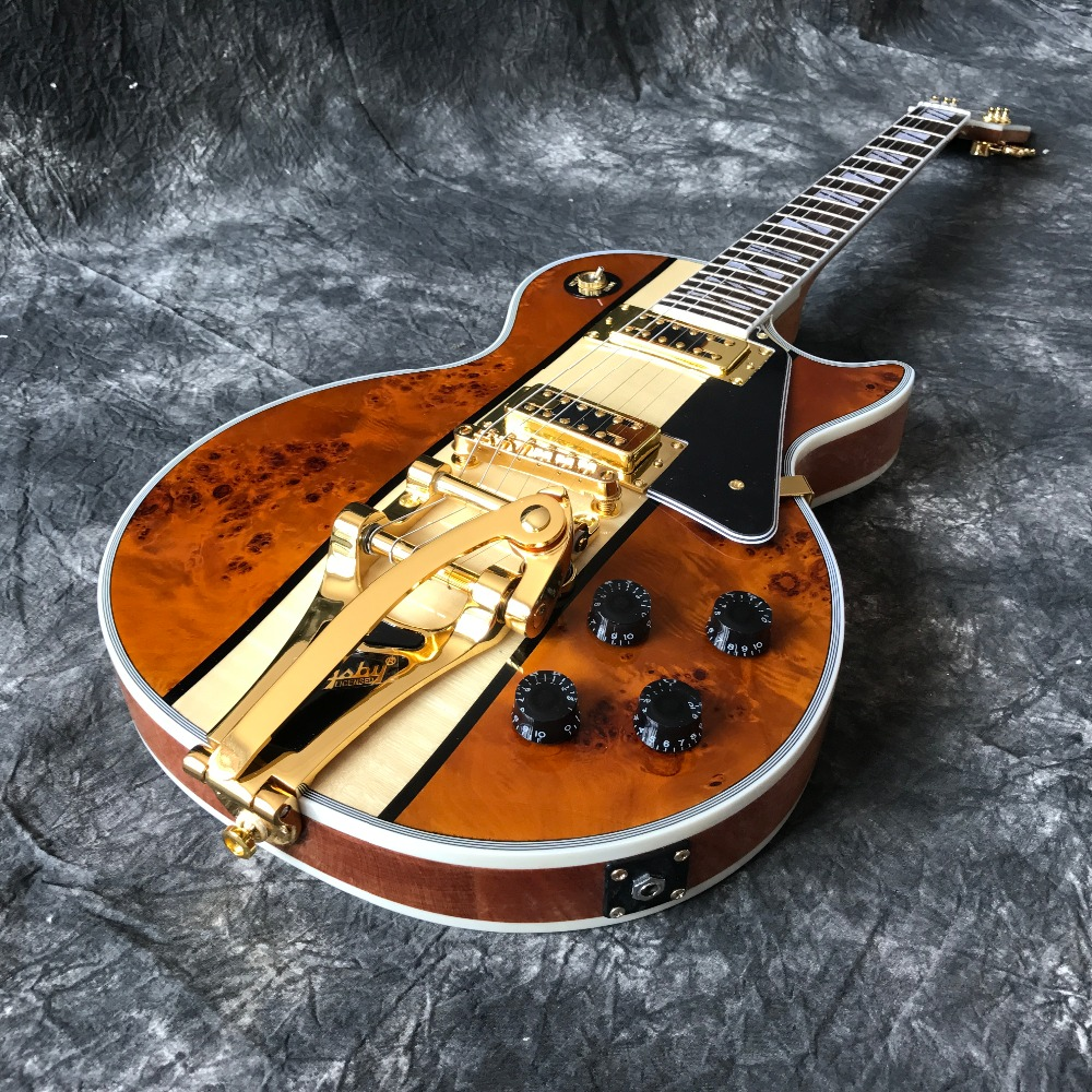 hot selling High Quality Chinese guitar Electric guitar with Gold Vibrato, Spalted + Flame Maple top, Wholesale guitarra