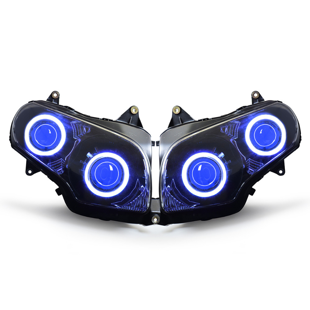 KT Headlight for Honda Goldwing GL1800 2001-2017 LED Angel Eye Blue Demon Eye Motorcycle HID Projector Assembly 15 14 13 12 11 3157 3156 80w 900lm 16 led white car brake light steering backup lamp 12 24v