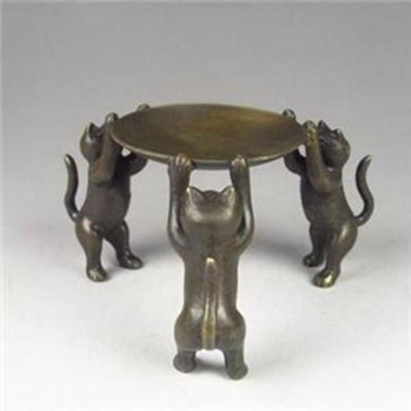 Chinese Bronze Plate  Cats Animal 3 Cat Oil Lamp Candle Holder Candlestick Statue