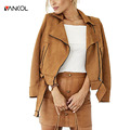 Jacket Coat Women Fall Slim Plain Color Jackets with Belt Brand Design Pink Gray Motorcycle Female Short Suede Leather Jacket