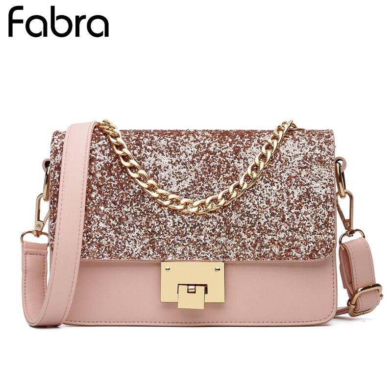 Fashion Women Sequined Messenger Bag Quality Leather Womens Flap Bag Chain Strap Female Shoulder Bag Lay Handbag Crossbody Bags