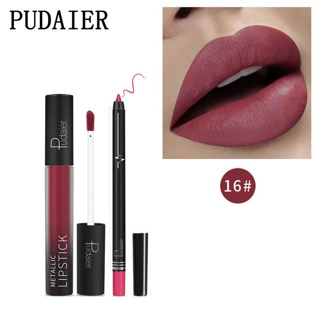 Brillo de labios + delineador de labios hidratante de lápiz de larga duración impermeable mate lápiz labial líquido lápiz de Color brillo de labios brillante maquillaje de labios