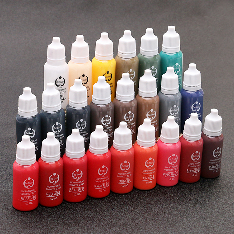 12piece/lot Professional Tattoo Ink Pigment 15ML 12 Colors for Permanent Eyebrow Lip Makeup Tattoo Machine 35000r import permanent makeup machine best tattoo makeup eyebrow lips machine pen