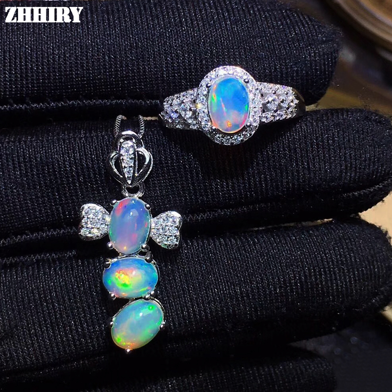 ZHHIRY Natural Fire Opal Jewelry Sets 925 Sterling Silver Ring Necklace Pendant set For Women Color Gemstone Fine JewelryZHHIRY Natural Fire Opal Jewelry Sets 925 Sterling Silver Ring Necklace Pendant set For Women Color Gemstone Fine Jewelry