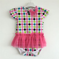 2016 Baby Girls Romper Baby Kitty Pink Color Lace Polka Dot Romper Dress With Toddler Girl