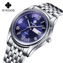 WWOOR 2016 Nuevos hombres de la Marca de Acero Inoxidable Relojes Auto Fecha Reloj Del Negocio Impermeable Hombres Reloj de Cuarzo Relogio masculino