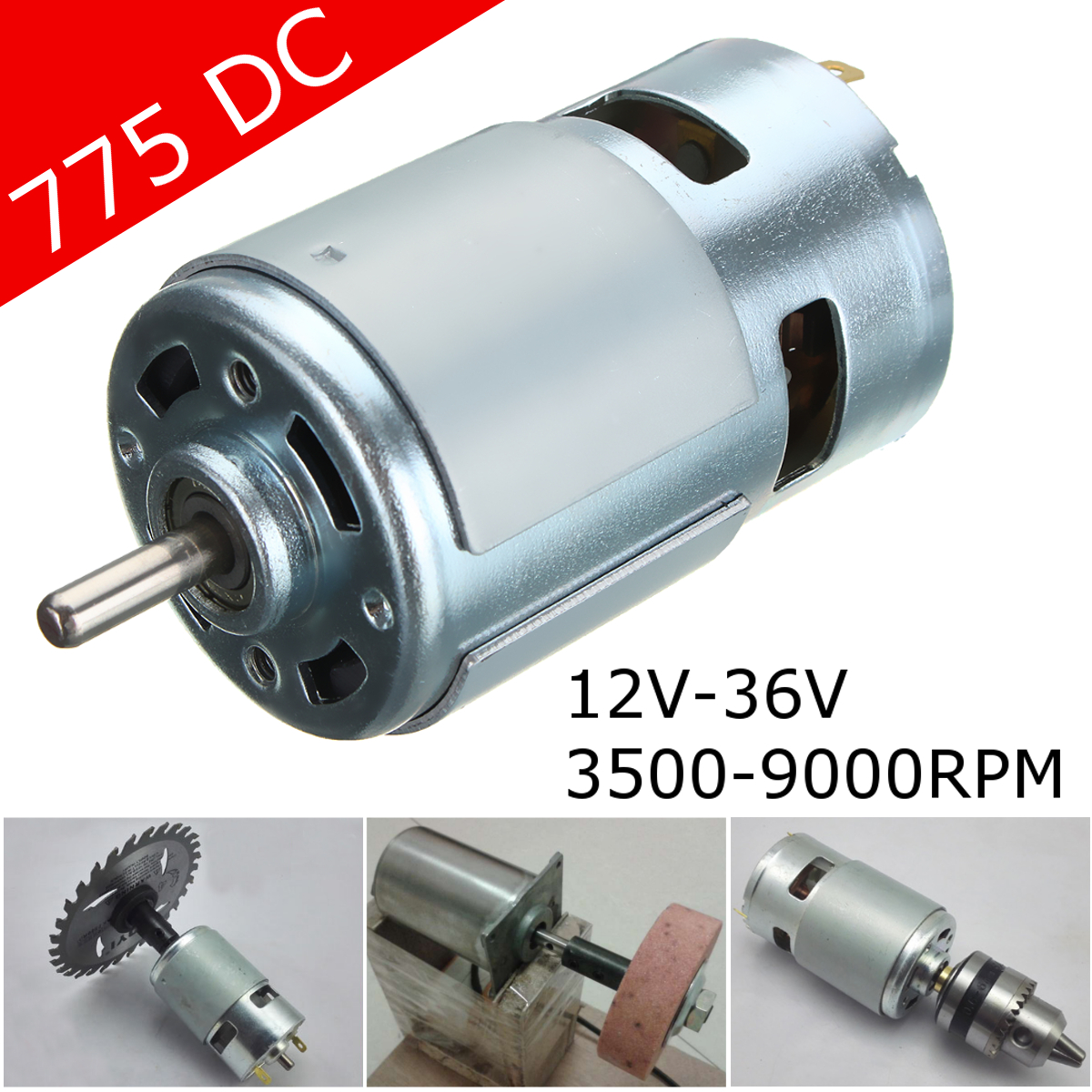 High Speed Motor 775 DC 12V~36V 3500-9000RPM Ball Bearing Large Torque High Power Low Noise Electronic Equipments цена