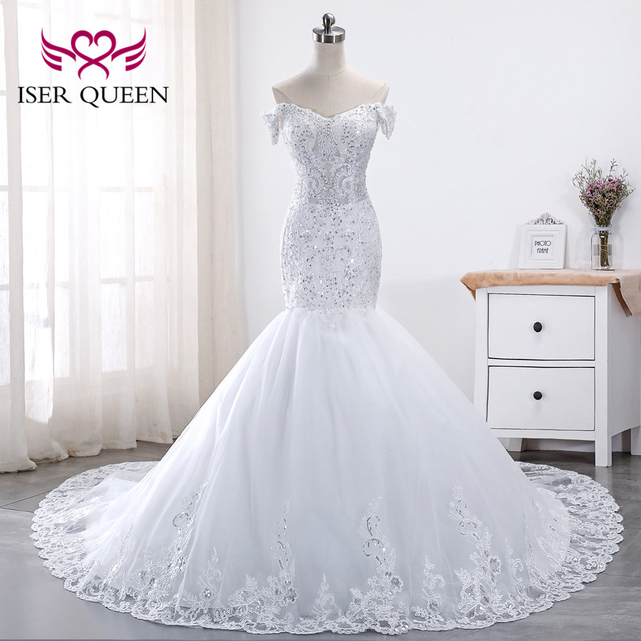 Cap Sleeve Luxury Sequin Lace Wedding Dress 2020 Plus Size Mermaid Wedding Dresses Appliques Court Train Bridal Dress WX0014