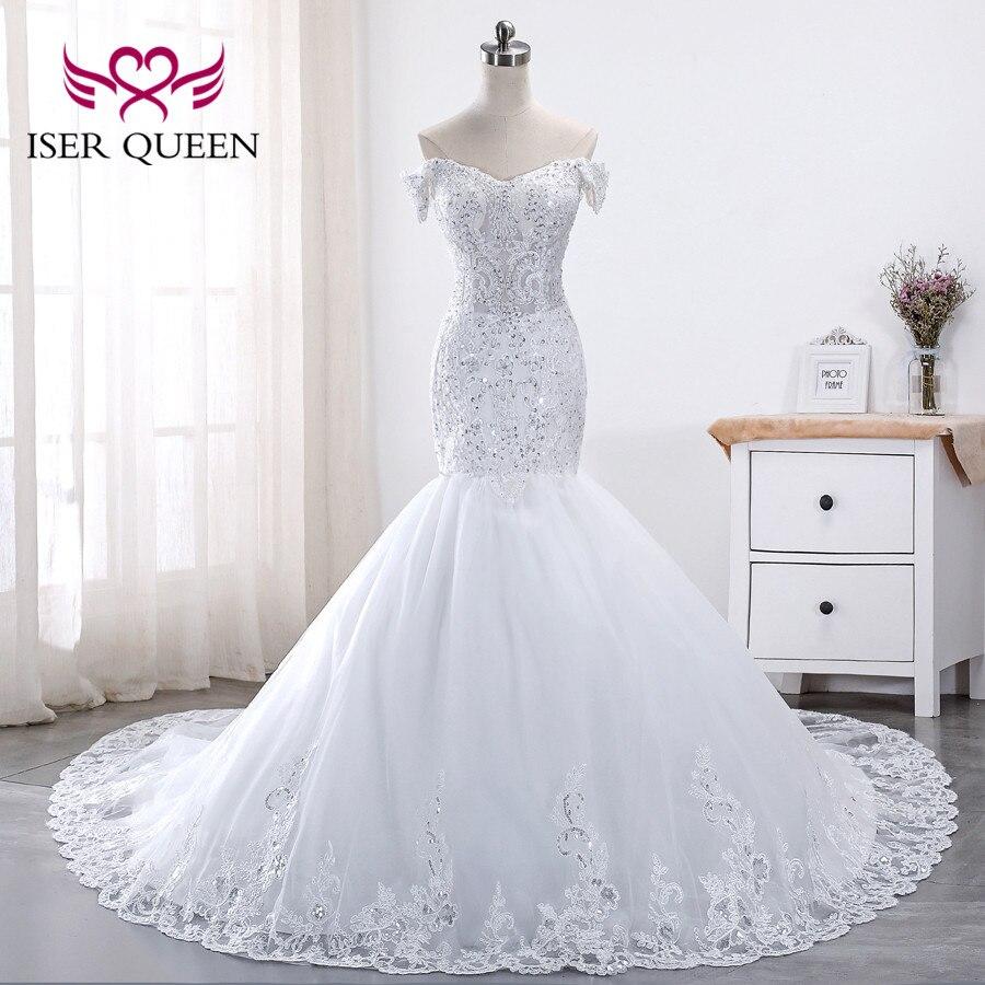 Cap Sleeve Luxury Sequin Lace Wedding Dress Plus size Mermaid Wedding Dresses Appliques Court Train Bridal Dress WX0014
