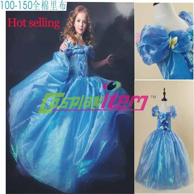 59d90e0392 2015 livraison gratuite New Cinderella enfants princesse robe bleue fille  robe avec papillon pour cendrillon Cosplay