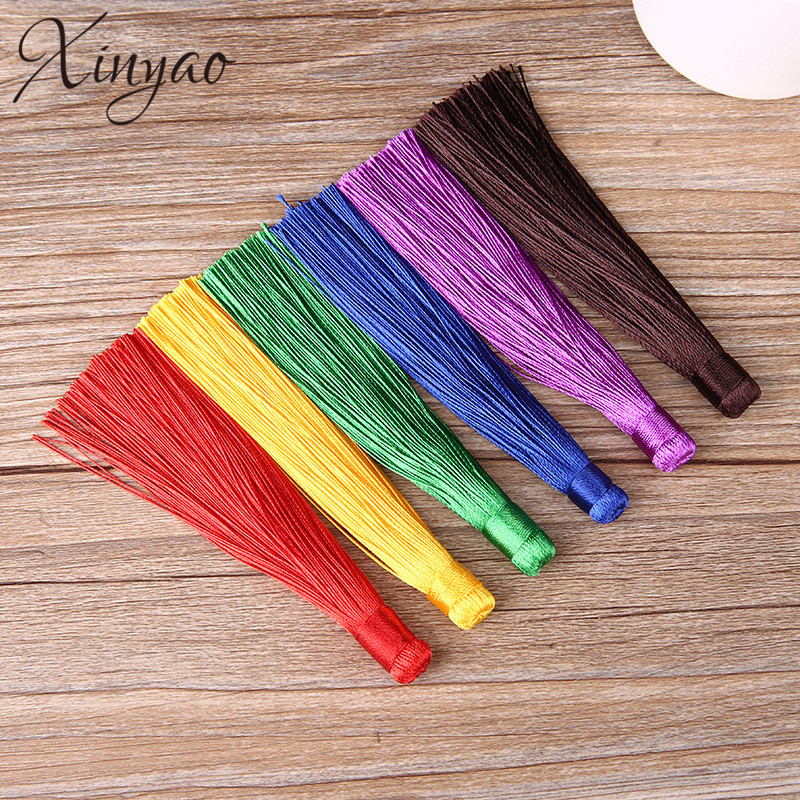 XINYAO 10pcs 120mm Rayon Polyester Silk Tassel Earrings Charms Chinese Knot Cotton Tassels For Jewelry Diy Making Borlas Piel