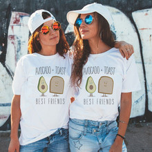 dbd0da6cd 2019 BFF Best Friends Top Avocados and Toast Print White T-shirt Harajuku  Kawaii Streetwear T Shirt Women New Arrivals Clothing