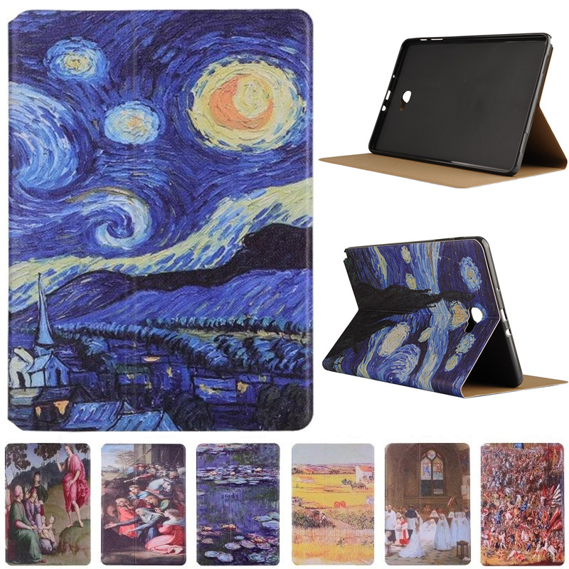 Fashion Starry Sky Oil Painting For Samsung Galaxy Tab A A6 10.1 P580 P585 (Not T580 ) Vintage Art Painted Pattern Tablet Case fashion starry sky oil painting for sony xperia z4 tablet ultra 2015 10 1 cover vintage art painted pattern tablet case