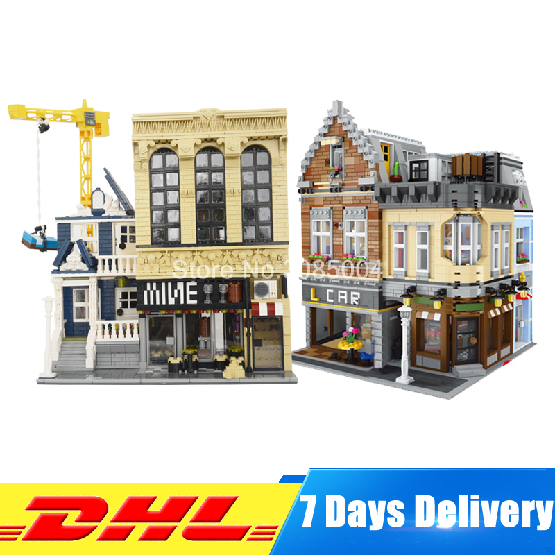 DHL LEPIN MOC 15034 The New Building City+ MOC 15035 The Bars and Financial Set Model Building Block Bricks DIY Toys Gifts loz mini diamond block world famous architecture financial center swfc shangha china city nanoblock model brick educational toys