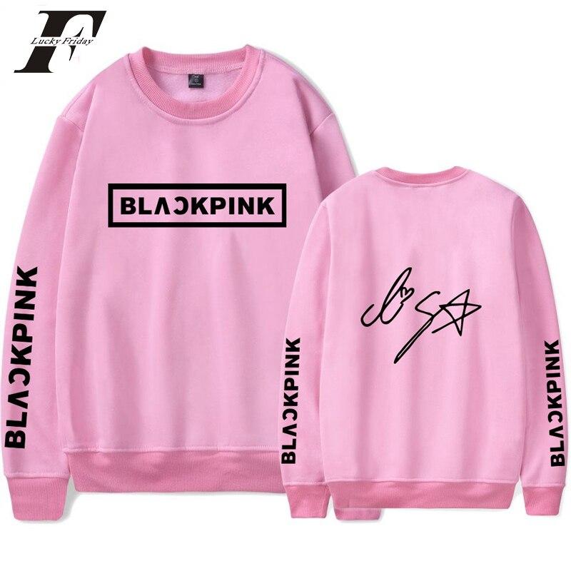 Selfless 2019 Blackpink Kpop Capless Hoodie Sweatshirt Women Print Hip Hop Korean Style Hoodies And Sweatshirts Black Pink Kpop Clothes Women's Clothing