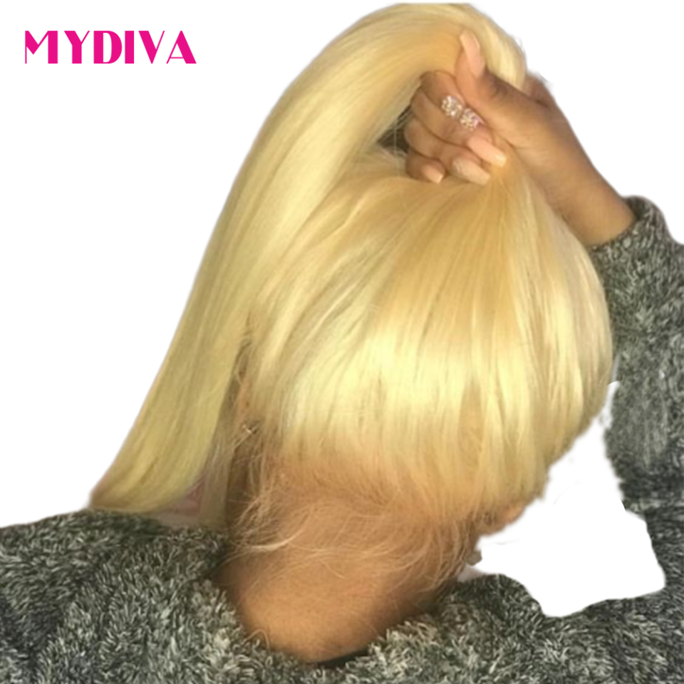 Brazilian Straight Pre Plucked 613 Blonde 360 Lace Frontal Human Hair Natural Hairline With Baby Hair Remy Hair 22*4*2 Mydiva image