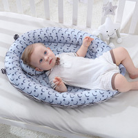 Breathable Baby Portable Bassinet Lounger Hypoallergenic Sleeping Bed Cotton Toddler Folding Crib for Storage Bag