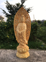 Chinese wooden statue lotus Guanyin Buddha craft home decoration