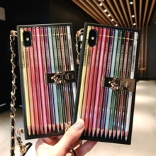 3D Color Pencil Metal Bracket Phone Cases Cover for iphone X XR XS MAX 6 6s 7 8 Plus Case Coque
