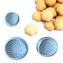 3Pcs/set White Big Famous Sea Shell Shape 3D Fondant Cake Mold Tools Bakeware Sugarcraft Cookies Cutter tool