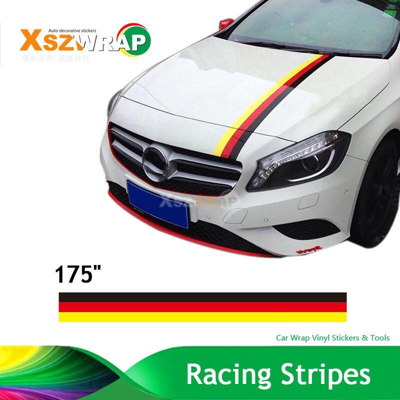 "(450*15cm/Roll) 175"" German Flag Racing Stripes Stickers"