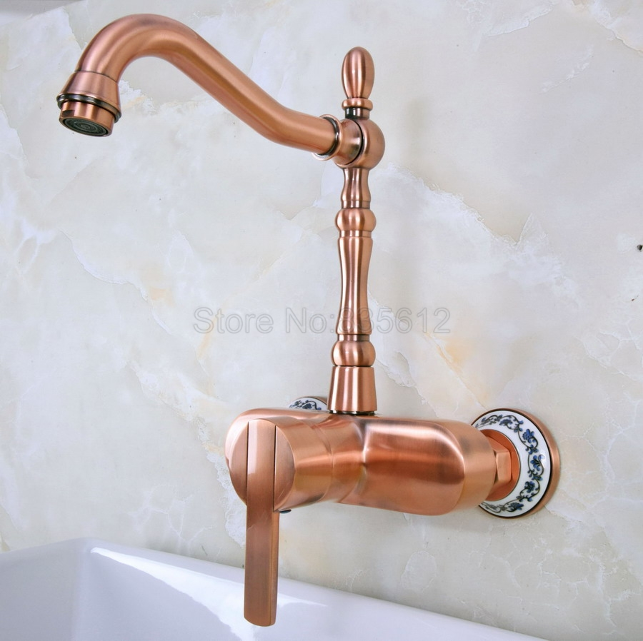 Antique Red Copper Antique Red Copper Antique Wall Mounted Swivel Spout Bathroom Sink Faucet Single Handle Mixer Tap Wall tnf938 yamaha rs320 red copper