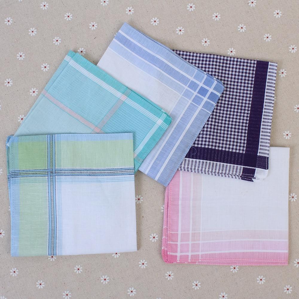 5Pcs man Cotton Vintage Thin Men Pocket Squares Plaid Stripe Handkerchief Women Hanky Scarves Casual Towel 29X29cm Random Color